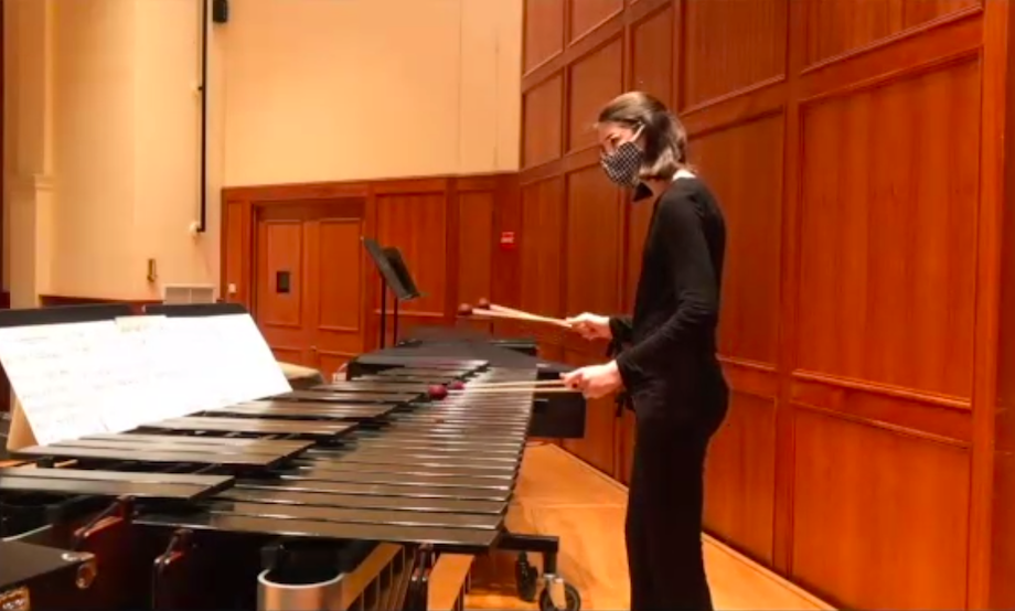 "Marimba soloist Maya Clark '22, plays ""Heroic Henjal Mariacki Fanfare,"" a piece composed by Julia Adams, visiting assistant professor of music."
