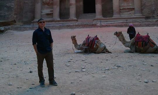 This photo of me was taken in front of the Treasury, or Al-Khazneh, in Petra, Jordan. As for a little background to the picture, I am studying Arabic in Jordan for the summer and our program has taken us on many trips to popular tourist sites around the country. Petra is an ancient Nebatean city that also features Greek and Roman architecture.