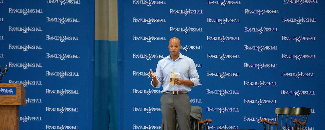 Author Wes Moore speaking at Common Hour.