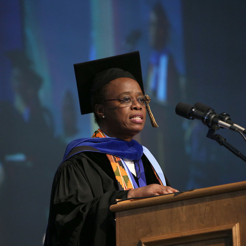 Dr. Wanda Austin delivers the Commencement address at F&M on May 13, 2017. A 1975 graduate, Austin is an engineer who once headed the Aerospace Corp., one of the nation's leading aerospace research centers for defense-related space programs, and recently the University of Southern California.