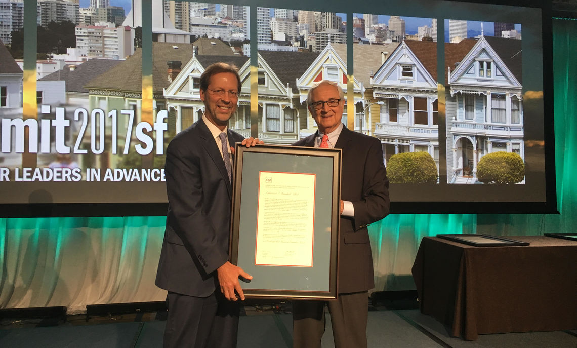 President Porterfield was on hand to help honor former F&M board chair Larry Bonchek, who received the CASE Distinguished Friend of Education Award July 17 in San Francisco.