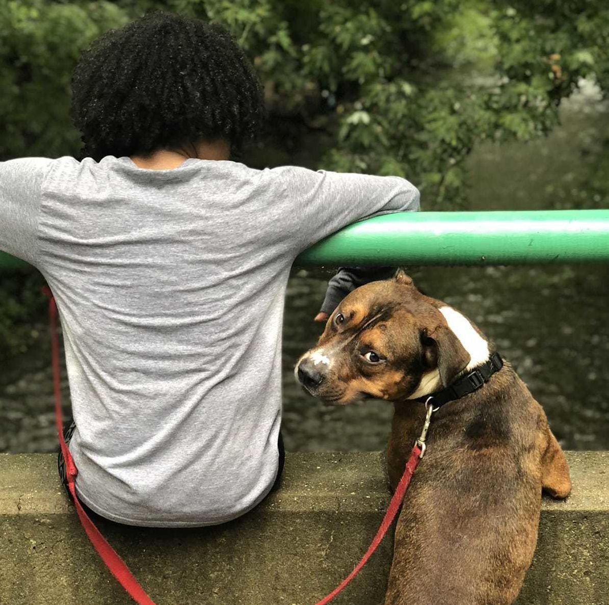 A photo of Tamara facing away from the camera with an adorable dog.