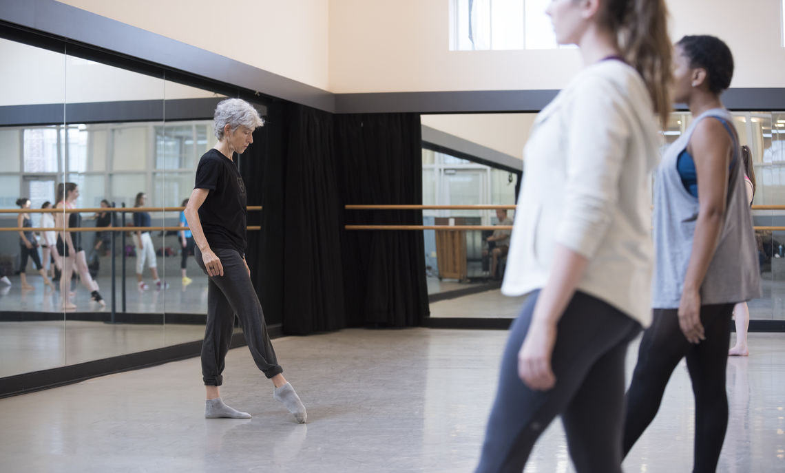 Carol Teitelbaum, a movement educator and former member of the Merce Cunningham Dance Company, was one of three guest choreographers teaching F&M students technique in the fall semester.
