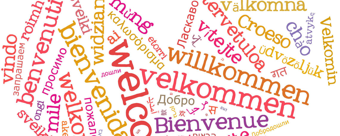 """Welcome"" word cloud in foreign languages"