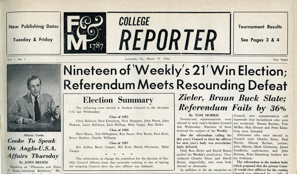 college reporter masthead 1964