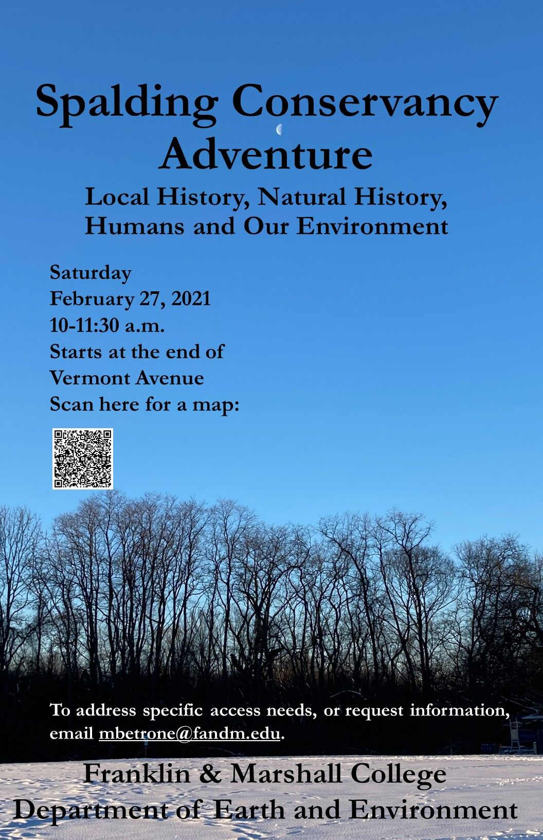 Invitation to walk around Spalding Conservancy on Saturday, Feb. 27, from 10-11:30am. Meet at the end of Vermont Avenue. For access requests, email mbetrone@fandm.edu.