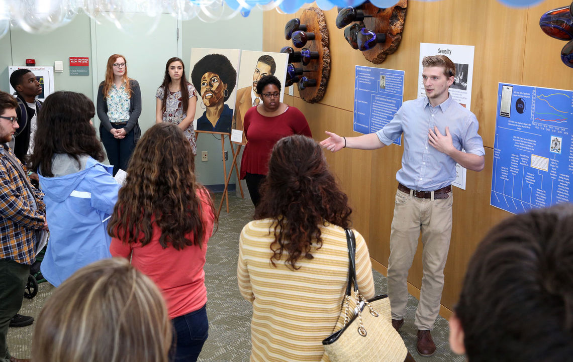 """Among the popular events at F&M's Day of Dialogue was """"Diversity Through Time,"""" a visual representation of the diversification of the F&M student body throughout history."""