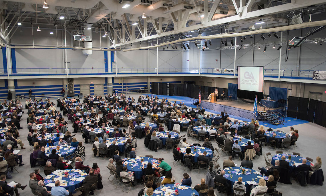 Franklin & Marshall College's Alumni Sports and Fitness Center provided the venue and President Daniel R. Porterfield made brief remarks at Crispus Attucks Community Center's 29th annual Martin Luther King, Jr. breakfast on Jan. 16.