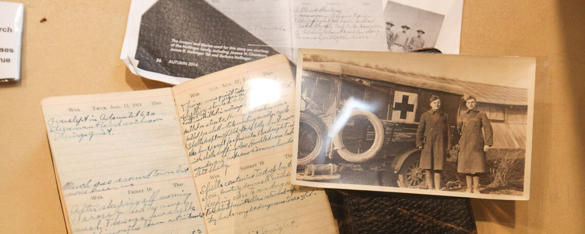 First-year Maya Hamilton delved into the College archives to produce her exhibit on World War I veteran and F&M alumnus James Hollinger '17, who kept detailed journals and letters of his experience overseas.
