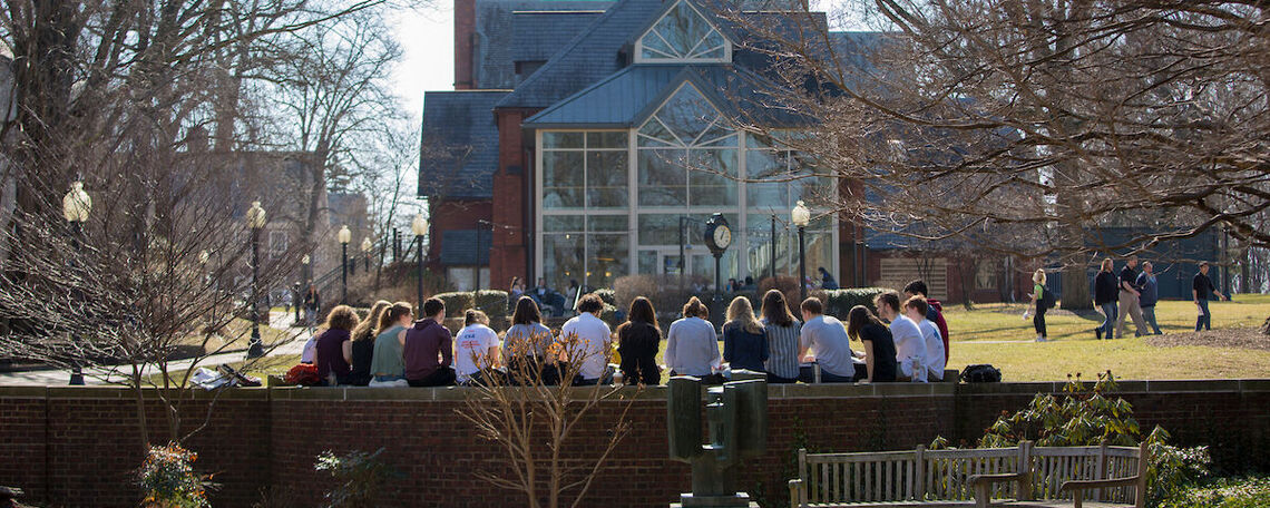 F&M students gather in front of Blue Line Cafe in February 2020.