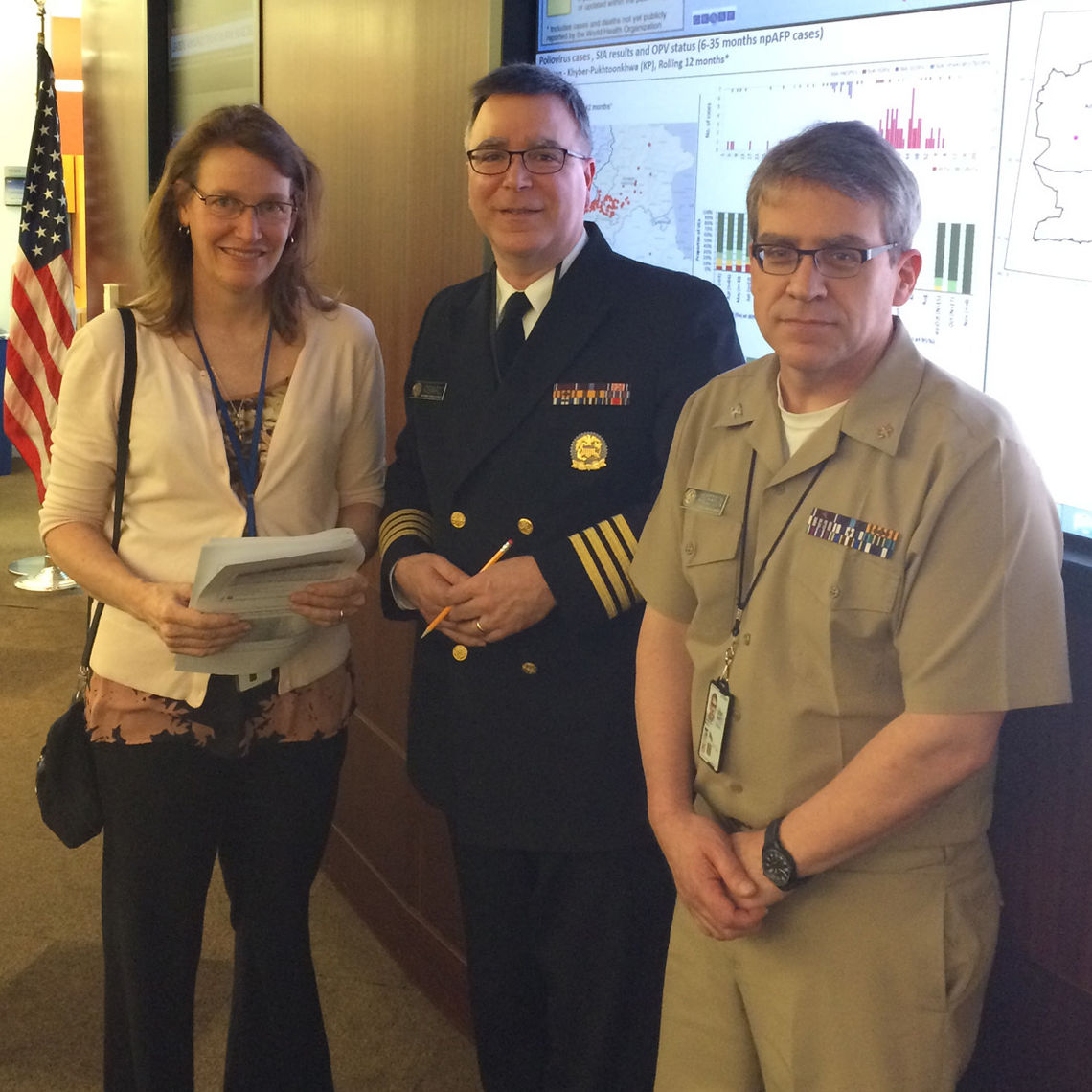 From left, Barbara Marston '82, Michael Iademarco '82 and Mark Anderson '83 are key cogs in the CDC's response to the Ebola outbreak in West Africa. Iademarco and Anderson are wearing uniforms as officers of the U.S. Public Health Service.