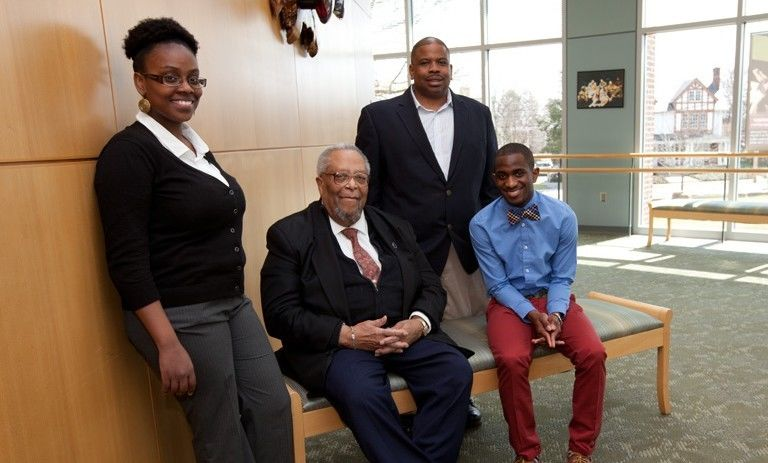 F&M's African American Alumni Council has played a role in the success stories of both alumni and students. Pictured here (l—r) are Chyann Starks '13, Sydney Bridgett '51, AAAC chair Tony Ross '91 and RaeVaughn Williams '15. Photo by Melissa Hess.
