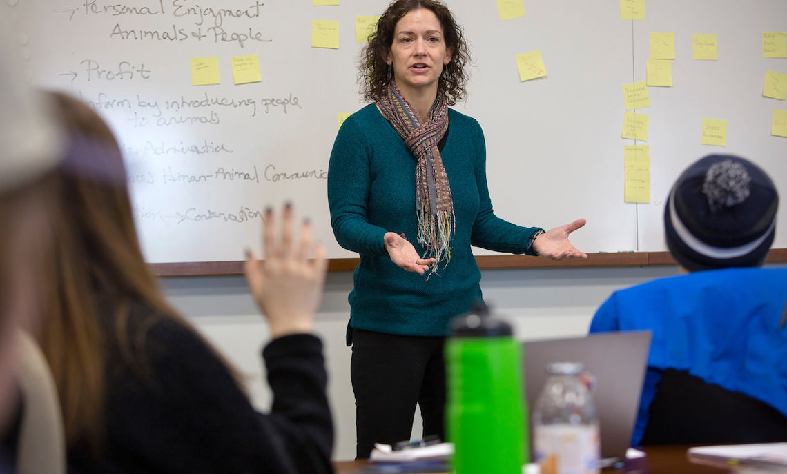 "Professor of Psychology Elizabeth Lonsdorf and Professor of Classics Gretchen Meyers are tandem teaching a course this semester that gives students a science and a humanities perspective on the subject of human-animal relationships. ""We want students to learn how a process of inquiry works in two different disciplines,"" Lonsdorf says."