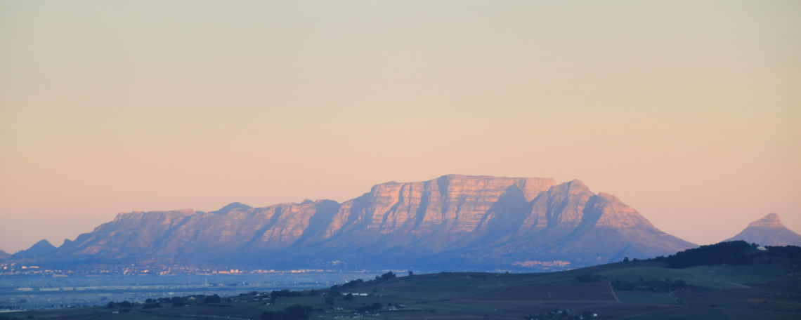 A view of Table Mountain, considered one of the biggest attractions in Cape Town, from Stellenbosch Mountain.