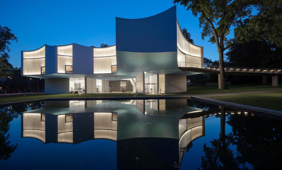 The Susan and Benjamin Winter Visual Arts Center and the reflecting pool