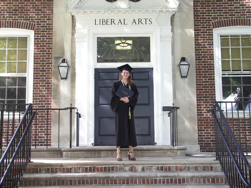 Renfrow stops for a last picture in front of Keiper Liberal Arts Building.