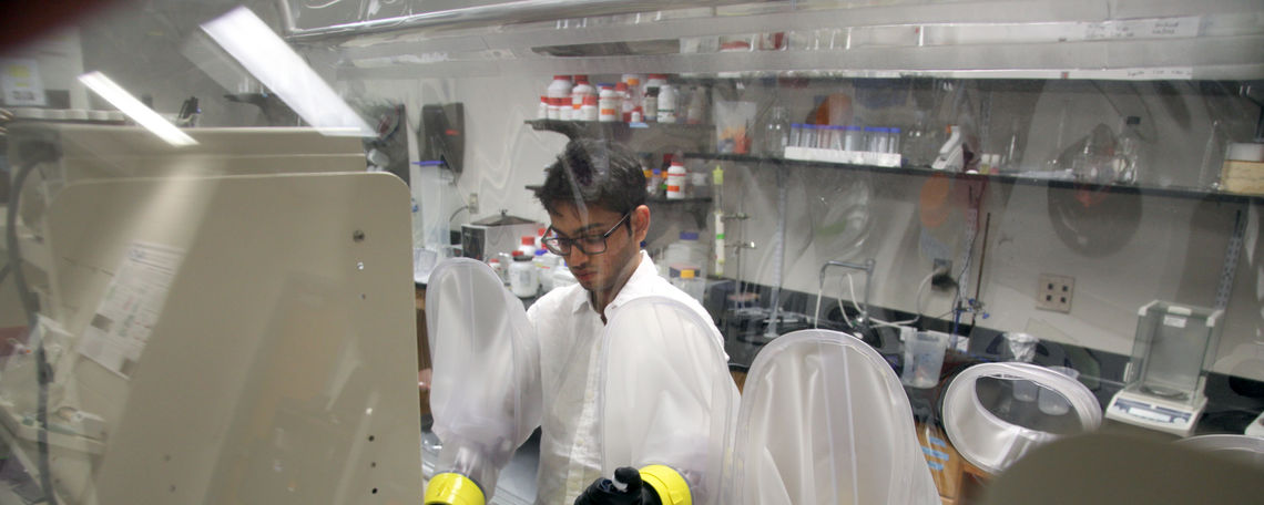 Senior biochemistry major Daniyal Tariq manipulated the heme pocket of a gas-binding protein with an unnatural amino acid to address the question: can water get into the pocket or just gases?