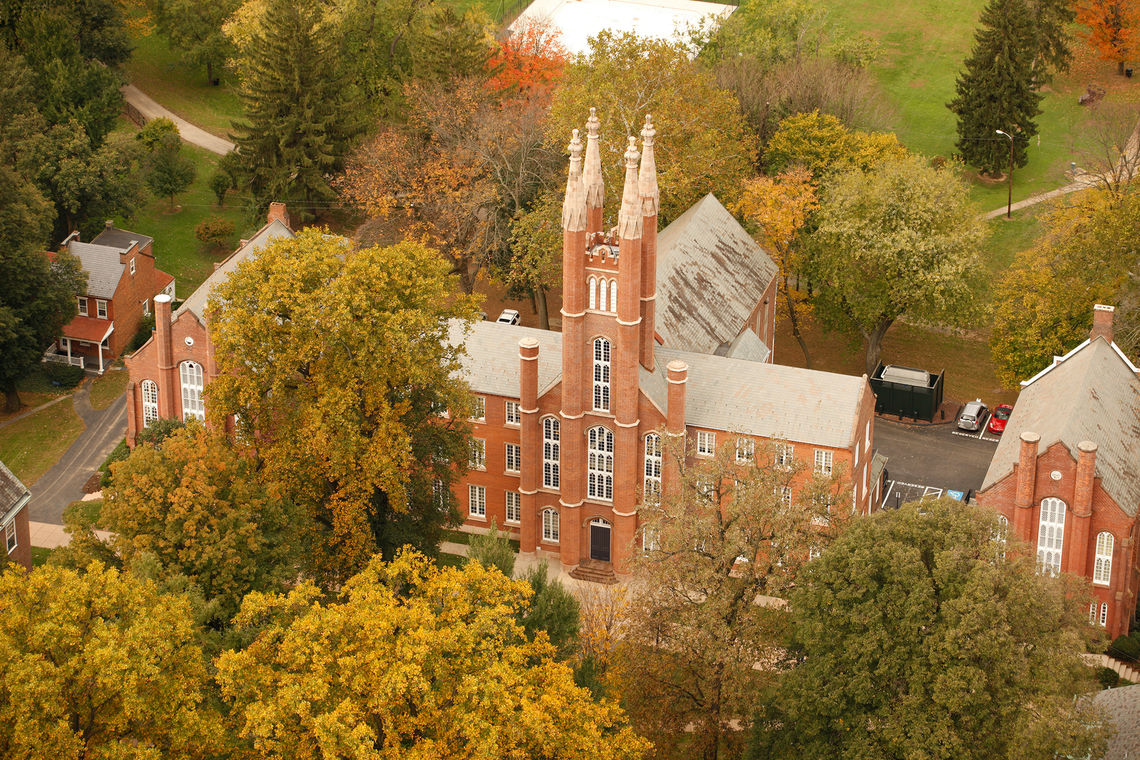 Old Main fall aerial
