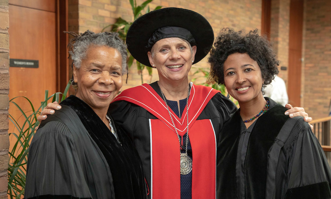 F&M President Barbara K. Altmann with honorary degree recipients Bebe Miller, left, and Dr. Rahel Nardos '97.