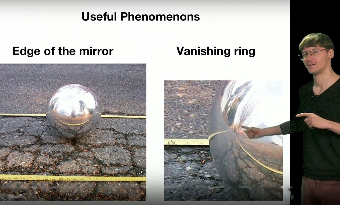 In the study, Anton used two-dimensional examples to investigate the two pictured mirror phenomenons:  edge of mirror and vanishing ring.