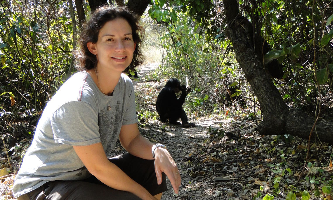 F&M Professor Lonsdorf at Gombe, where her data collection is supported by the Jane Goodall Institute.