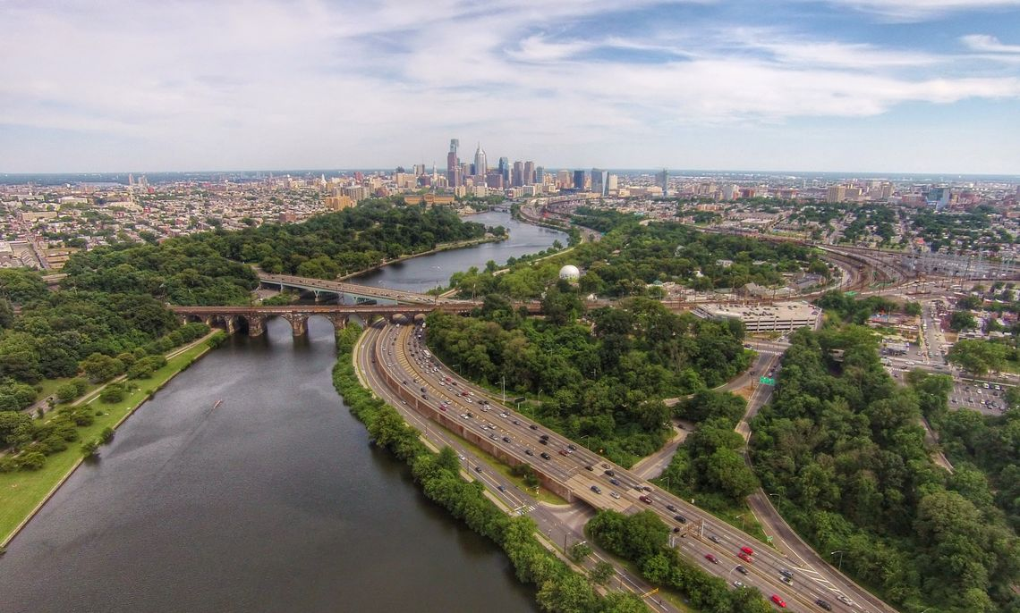 Matt Satell '09, founder of Philly by Air, uses drones to capture images of Philadelphia from as high as 400 feet off the ground. For this shot, Satell flies the drone over the Schuylkill River to photograph Center City from the northwest