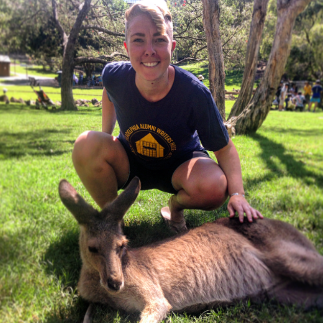 Visiting the kangaroos in Australia.