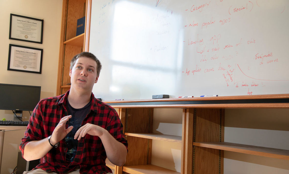 "A senior and computer science major, Marchini's research assistance has been critical to the app's development, Professor Novak says. ""One of the benefits of working with a Hackman student as a professor is that he keeps me on track. I feel motivated by working with the student."""
