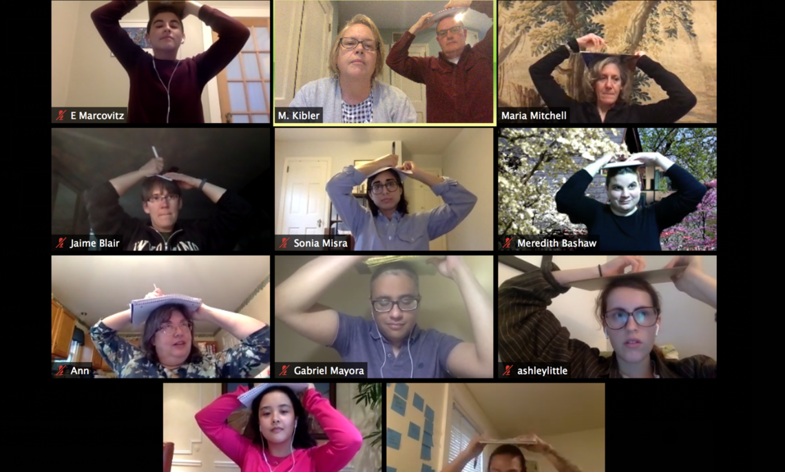 A screenshot of the WGSS virtual reception. Prof. Kibler led a game that involved drawing on top of one's head!