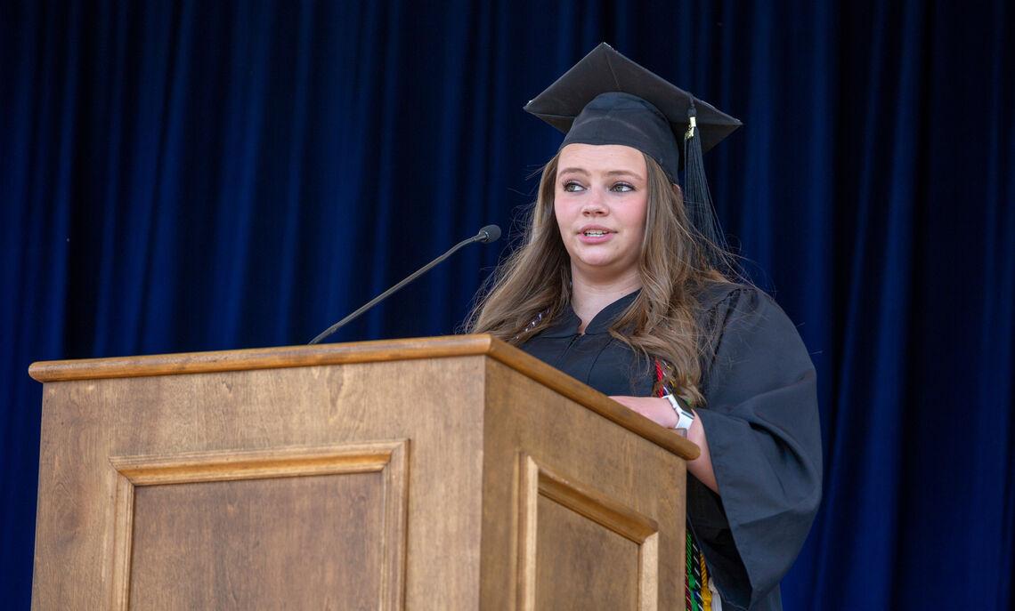 President of the Class of 2021 Marissa Witmer addresses fellow F&M graduates.