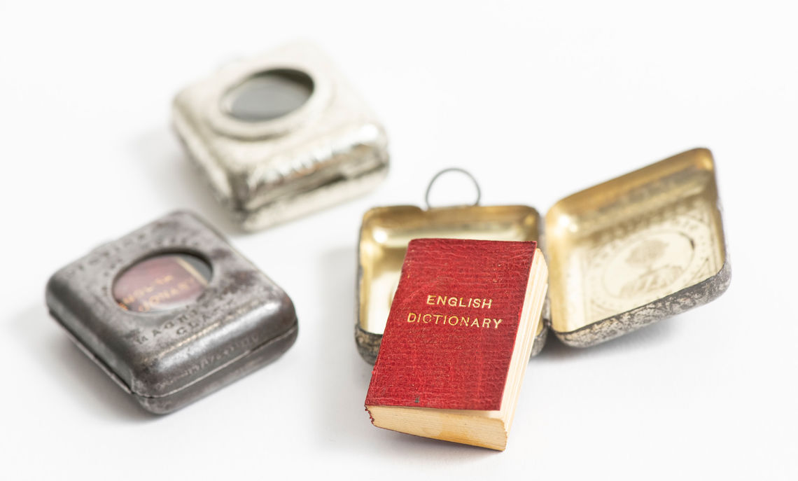 """The Smallest English Dictionary in the World,"" published in 1890 by David Bryce and Sons in Scotland, is part of the College's Helen & William E. Krantz '37 Miniature Books Collection."