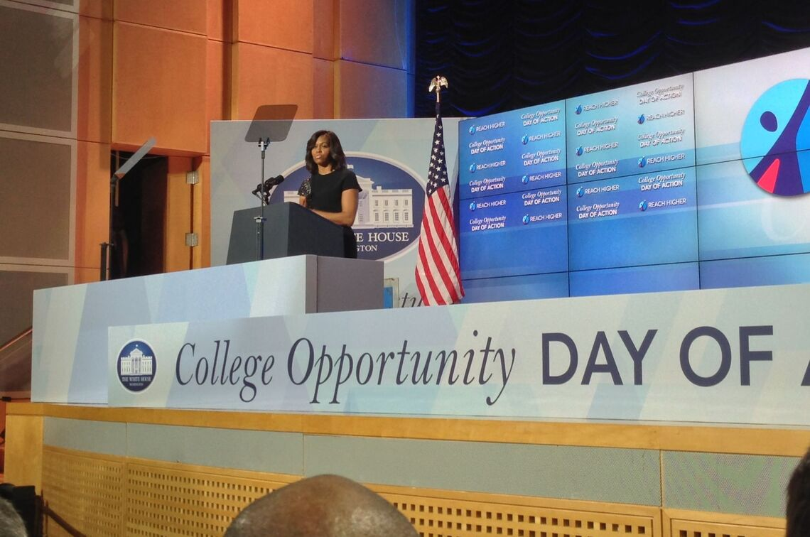 First Lady Michelle Obama addresses more than 300 college and university presidents, leaders of non-profits, and higher education advocates at the Dec. 4 White House College Opportunity Day of Action, where F&M President Daniel R. President led a breakout session on collaborating to support underserved students pursuing STEM education.