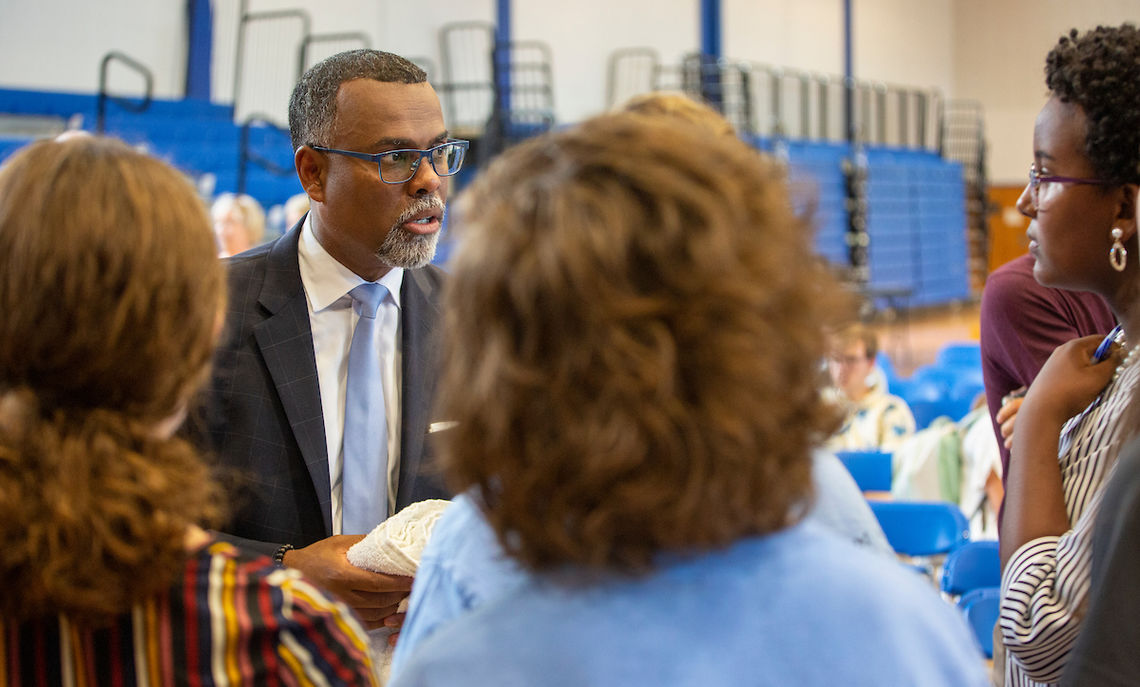 Glaude speaks with F&M students following his Sept. 12 Common Hour discussion on race and religion in America.