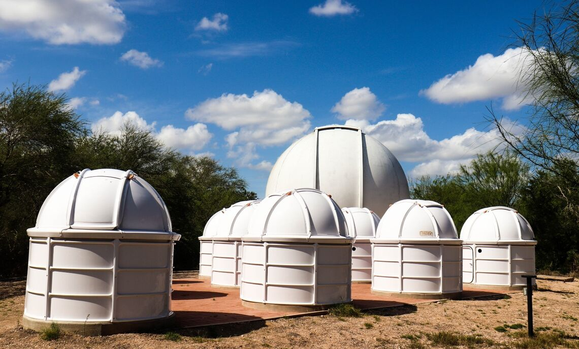 Mini-dome cluster Camuccio and colleagues constructed outside the main dome at the Cristina Torres Memorial Observatory