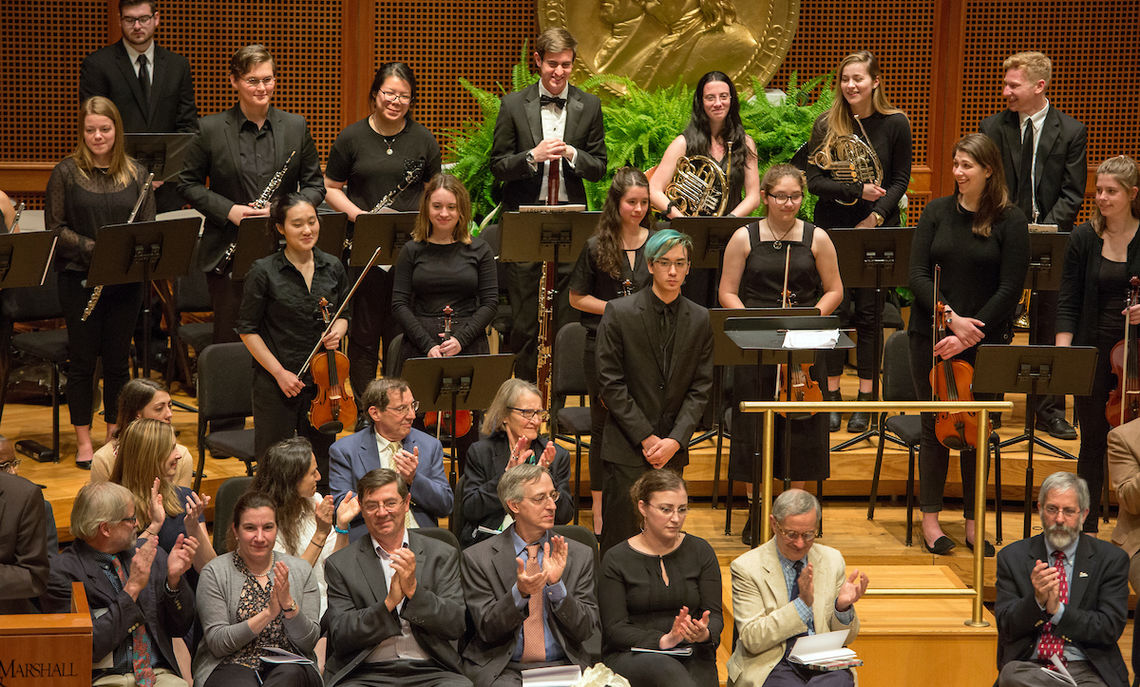 """The ceremony opened with the Franklin & Marshall Philharmonia's performance of """"Conduit Vessel,"""" composed and conducted by junior Christian Mechem."""