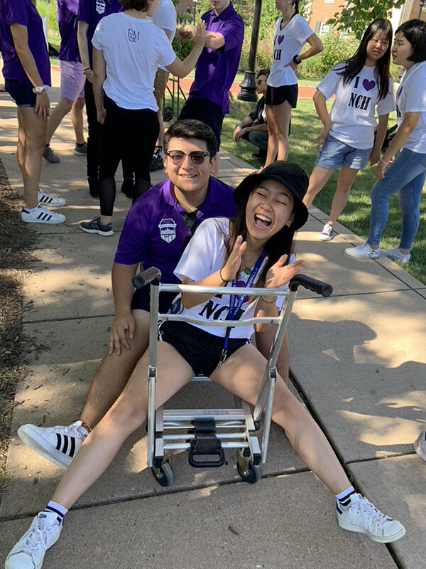 Omar Guerrero '22 of Roschel House, pictured here with Trinity Nguyen '22, likes the fact that the House community encourages students across all class years to find common ground and bond. (Photo taken pre-pandemic.)