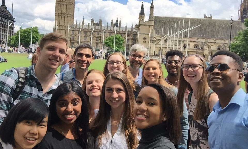 Dr. Nesteruk and the F&M in Bath 2016 crew in front of the Houses of Parliament in London.