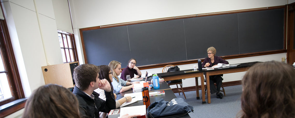 Professor Judith Mueller teaches an English class in the Keipter Liberal Arts building.