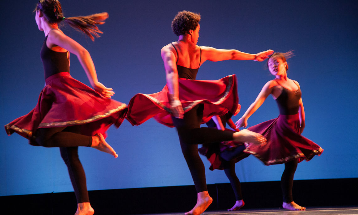 Image taken during a dress rehearsal for the 2014 Spring Dance Concert in Schnader Theater of the Roschel Performing Arts Center.