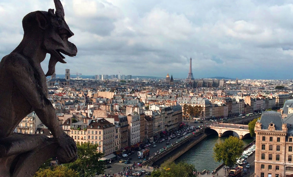 """""""After walking up 400-plus steps, I made it to the top of Notre Dame Cathedral,"""" sophomore Kianna Wirts says. The students found the view breathtaking and the gargoyle intimidating."""
