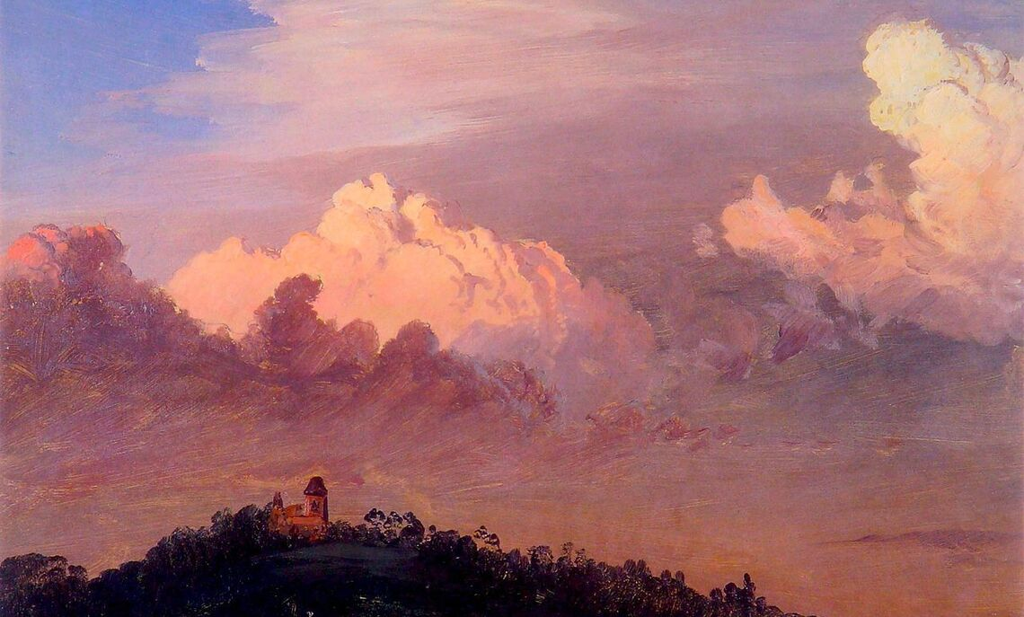 "Frederic Edwin Church's painting of his Hudson River Valley home, ""Clouds over Olana,""  1872."