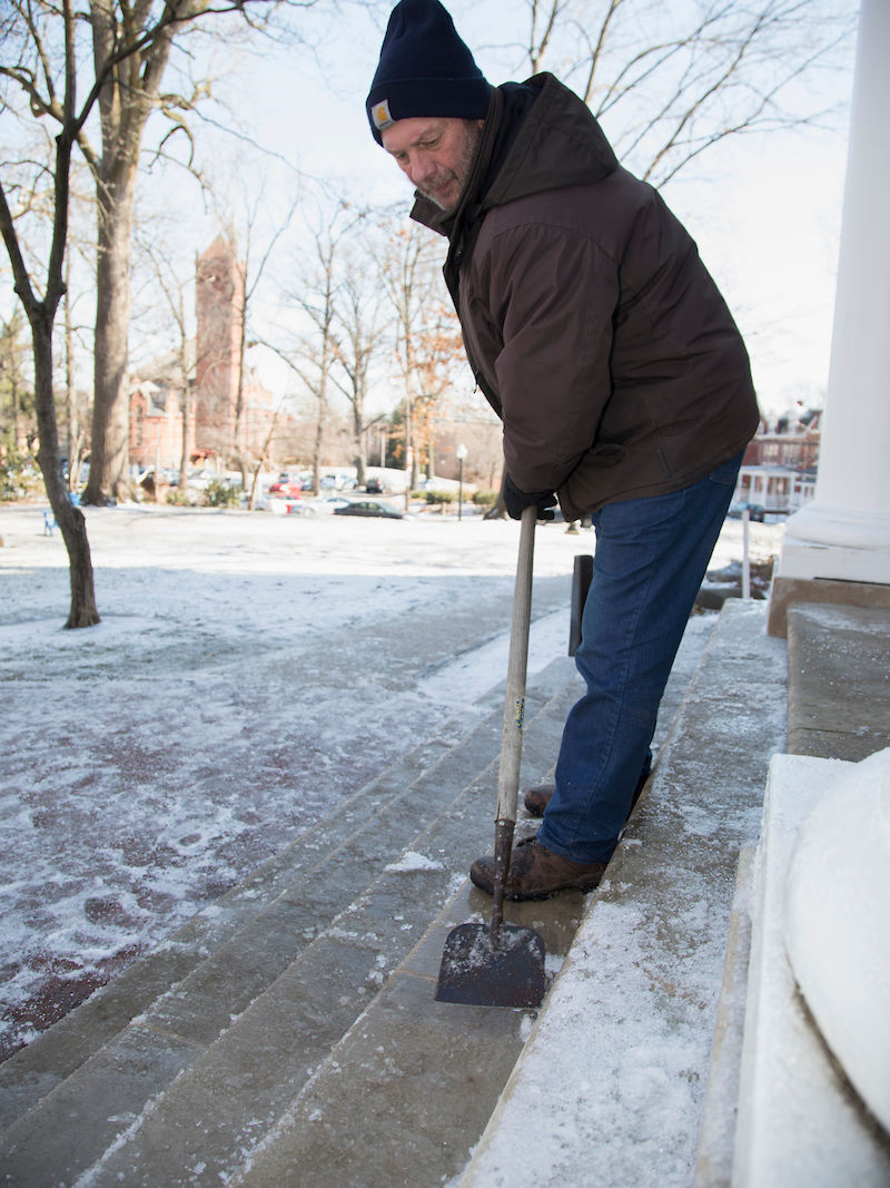 """Schmid is always out when it snows to lend a hand: """"I need to be out, shoveling with the guys,"""" he says. """"That's how you tell how rough and tough things are out there."""""""