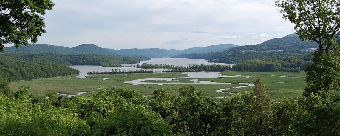 The Hudson River looking south from Storm King Mountain and Breakneck Ridge.
