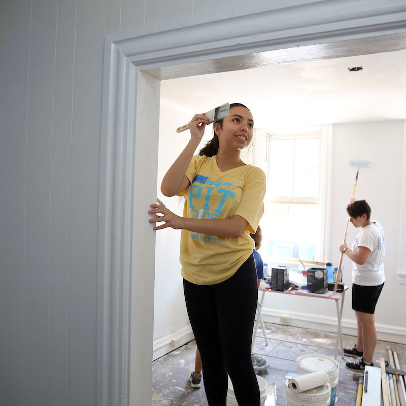 "A French and history double major who interned at Lancaster Lebanon Habitat for Humanity, Fadoua Nabih '18 said, ""What makes PSSI so unique is its emphasis on group collaboration for the purposes of tackling the greater overarching social issue of poverty. Not only am I actively learning, but I am being given the opportunity to give back to the amazing Lancaster community."""