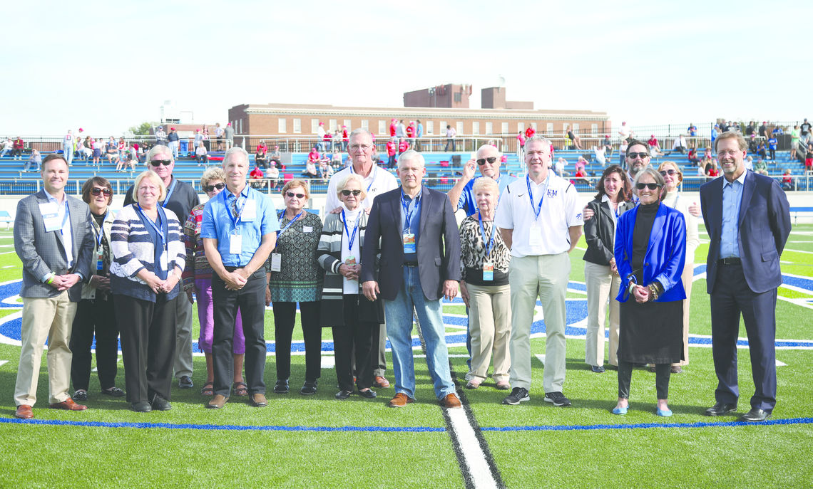 Shadek Stadium Volunteers during halftime at the opening game, Homecoming & Family Weekend 2017