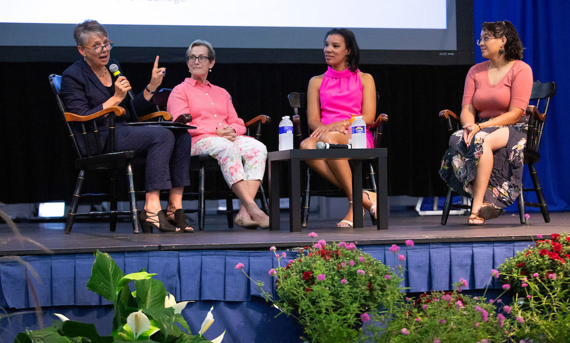 "Common Hour, 8/29/19: ""F&M Women Are Changing the Game!"" Celebrating 50 years of coeducation, President Barbara K. Altmann introduces panelists Cynthia Krom '80, Associate Professor of Accounting and Organizations at F&M, Michelle Flatt '99, Vice President of Programs at AnitaB.org, and Salina Almanzar '13, Photography Technician at F&M."