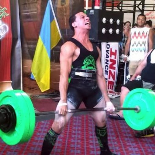 During a powerlifting meet in New York City this summer, Lopez hoists a 500-poind deadlift, setting a record for amateur males in his age and weight class.
