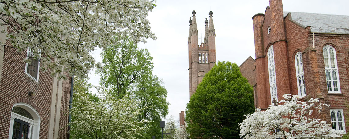 Sidewalk to Old Main in Spring