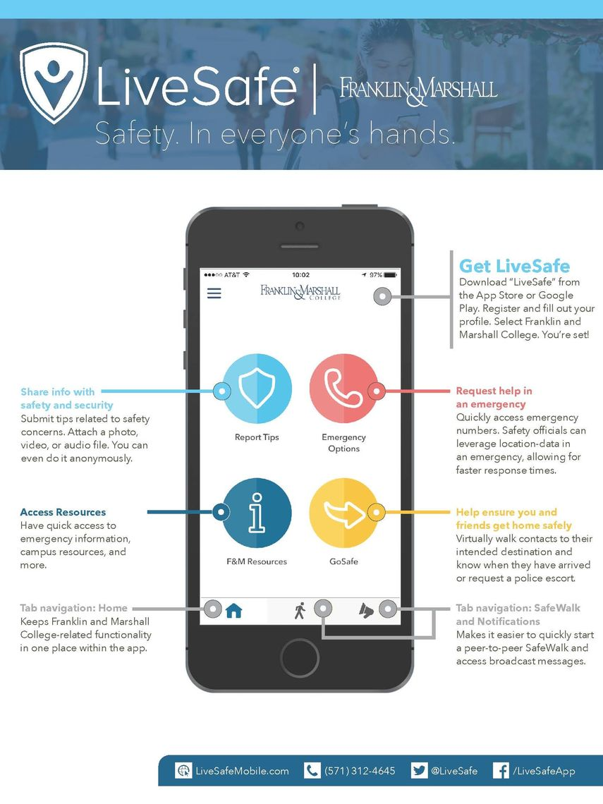 LiveSafe app description for Franklin & Marshall College