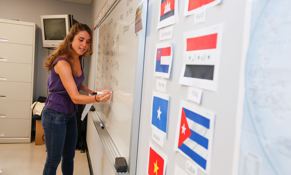 Caitlin Mary Forsthoefel  '14 is a participant in the Public Service Summer Internships Program (PSSI) and interns at Southeast Lancaster Health Services Bright Side Clinic. The clinic is a non-profit community health center that serves mostly underserved and uninsured patients.  During her internship she has served as a Spanish translator for patients at the clinic as well as worked to improve the referral system for refugees. She also teaches ESL classes to immigrants and refugees as part of her internship. Caitlin is a Public Health major with a Spanish minor at F&M.